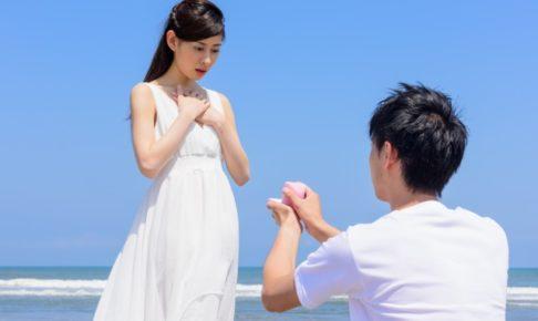 ビーチでプロポーズ